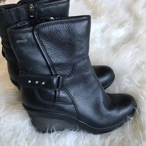 Clark's artisan black leather ankle wedge boots